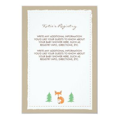 Little Fox Baby Shower Insert Card