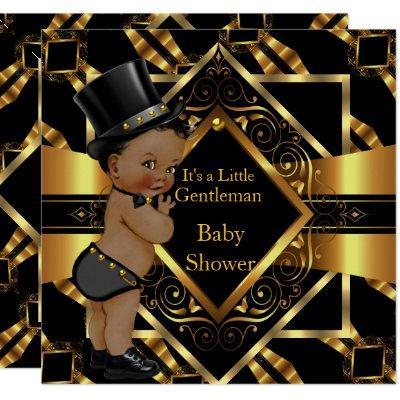 Little gentleman baby shower invitations baby shower invitations little gentleman baby shower gold black ethnic invitation filmwisefo