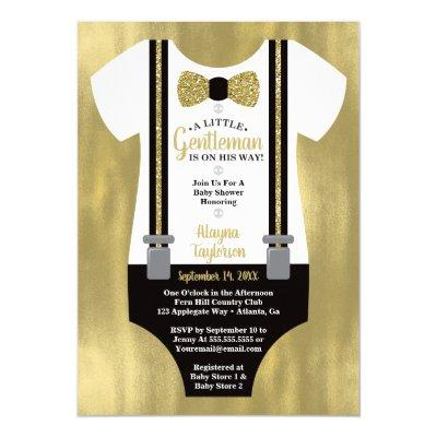 Little Gentleman Baby Shower Invitation, Faux Gold Invitation
