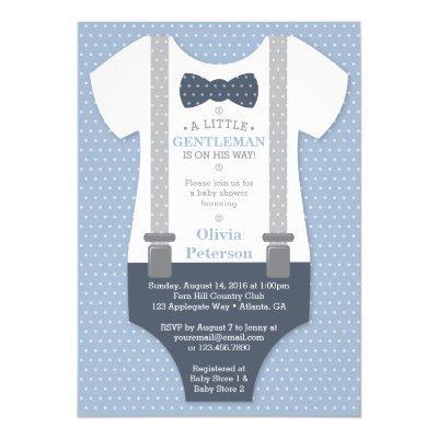 Little Gentleman Baby Shower Invite, Blue, Gray Invitations