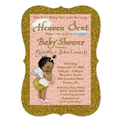Little Girl Baby Shower Invitations,pink, gold Invitations