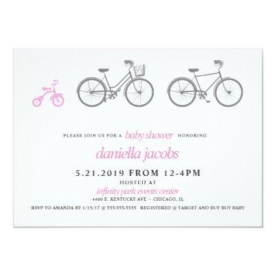 Little Girl Pink Bicycle Baby Shower Invitation