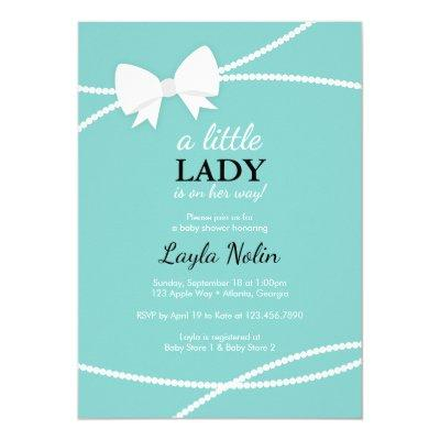 Little Lady , Blue, Pearls Invitations