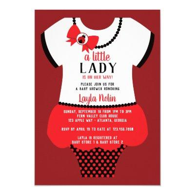 Little Lady Baby Shower Invitation, Ladybug Invitation