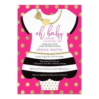 Little Lady Baby Shower Invite, Faux Glitter/Foil Invitation