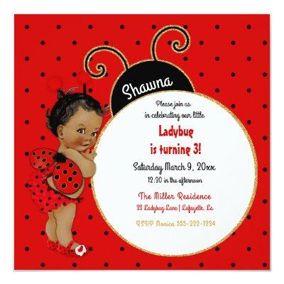 Little Ladybug African American Girl Red Black Invitation