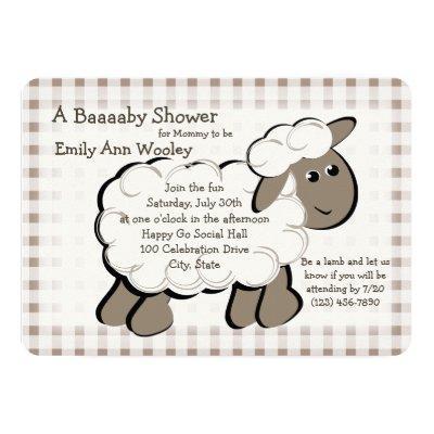 Little Lamb Gingham Baby Shower Invitations