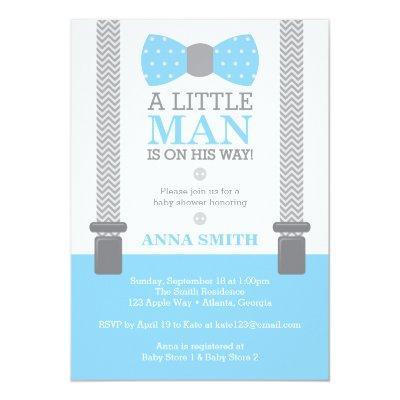 Little Man , Baby Blue, Gray Invitations