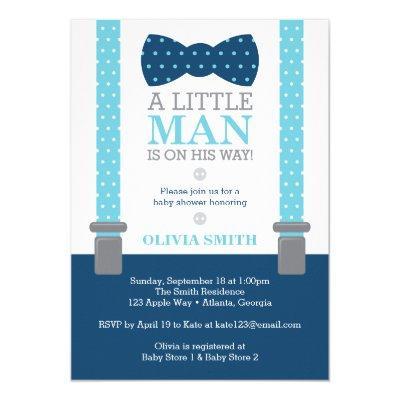 Little Man Baby Shower Invitation, Baby Blue, Navy Invitation