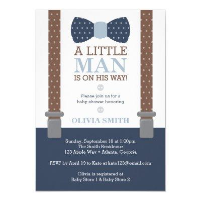 Little Man Baby Shower Invitations, Blue, Brown Invitations
