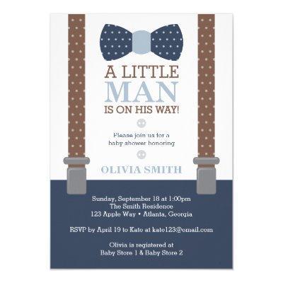 Little Man , Blue, Brown Invitations