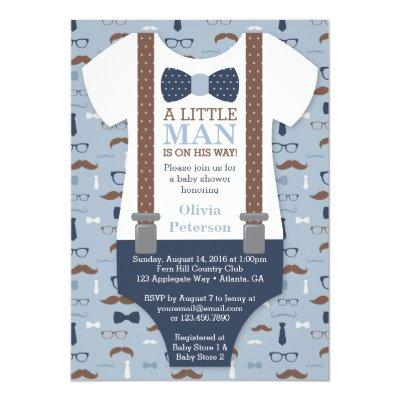Little Man Baby Shower Invitation, Blue, Brown Invitation