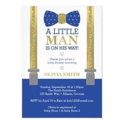 Little Man Baby Shower Invitation, Blue, Faux Gold Invitation