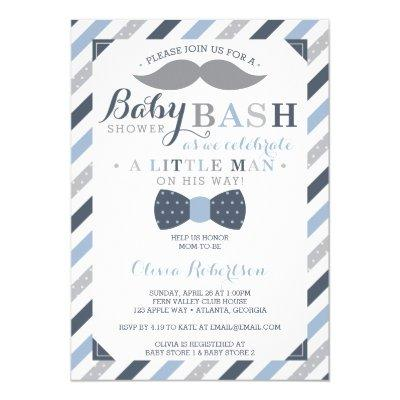Little Man , Blue, Gray Invitations