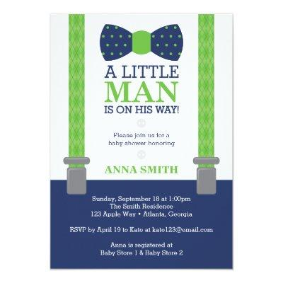 Little Man , Blue, Green Invitations