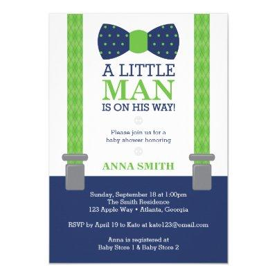 Little Man Baby Shower Invitations, Blue, Green Invitations