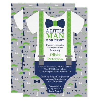Little Man Baby Shower Invitation, Blue, Green Invitation