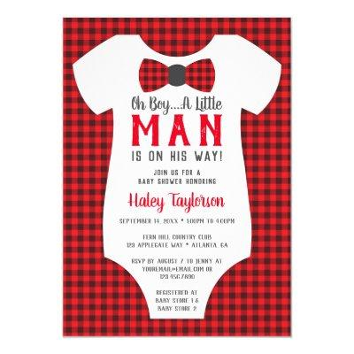 Little Man , Buffalo Plaid Invitations