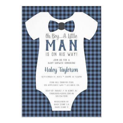 Little Man Baby Shower Invitation, Buffalo Plaid Invitation