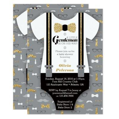 Little Man Invitation, Faux Glitter Invitations