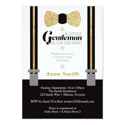Little Man , Faux Glitter Invitations