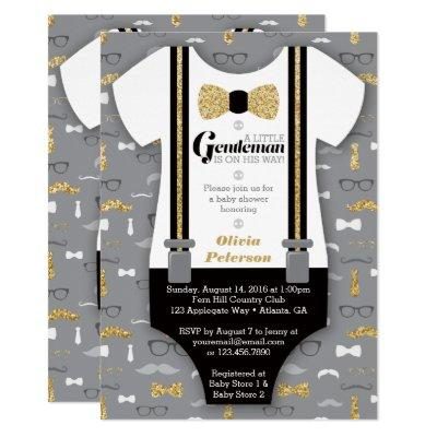 Little Man Baby Shower Invitations, Faux Glitter Invitations