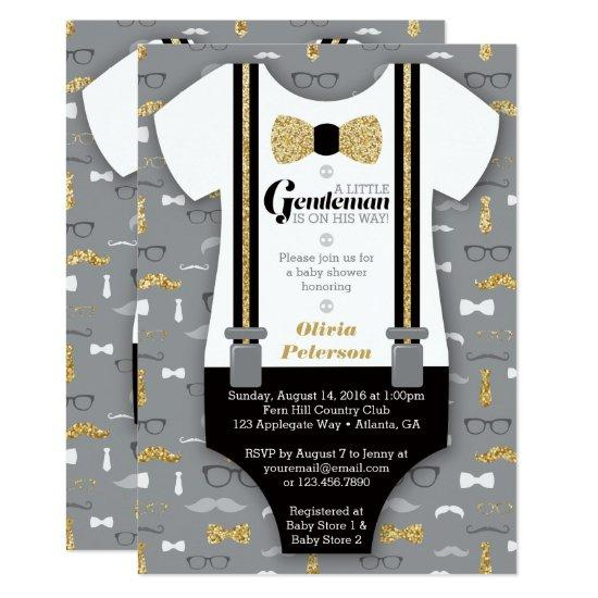 Little Man , Gold, Black Invitations