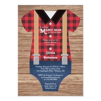 Little Man , Lumberjack Invitations