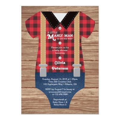 Little Man Baby Shower Invitation, Lumberjack Invitation