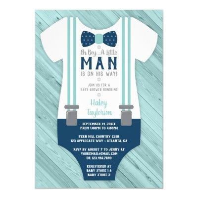 Little Man , Navy Blue, Aqua Invitations