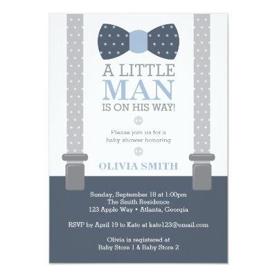 Little Man Baby Shower Invitation, Navy Blue, Gray Invitations