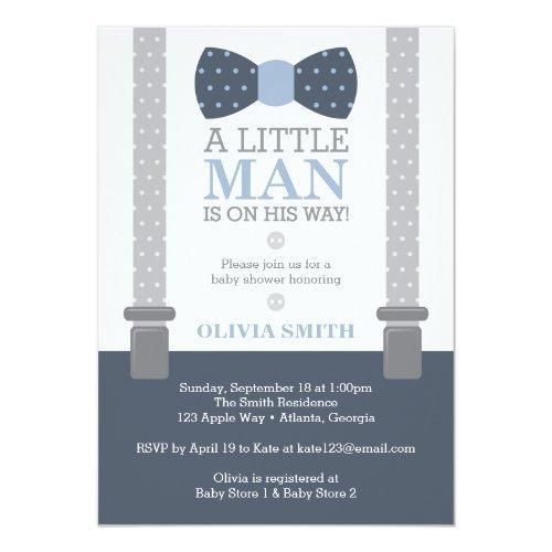 Little Man , Navy Blue, Gray Invitations