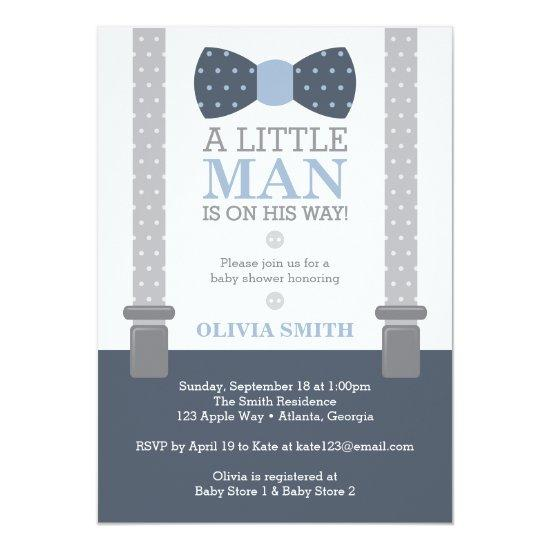 Little Man Baby Shower Invitations, Navy Blue, Gray Card
