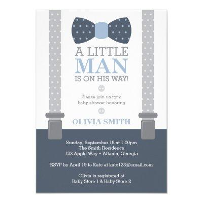 Little Man Baby Shower Invitations, Navy Blue, Gray Invitations