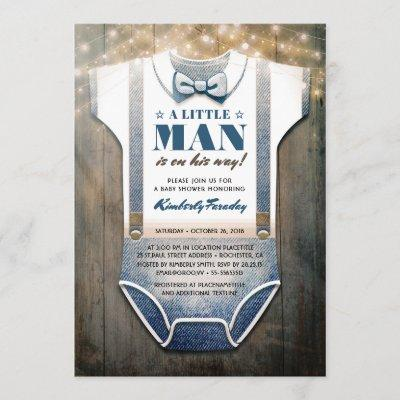 Little Man Baby Shower Invitation   Rustic Country
