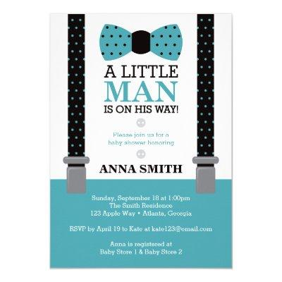 Little Man Baby Shower Invitation, Teal and Black Invitation