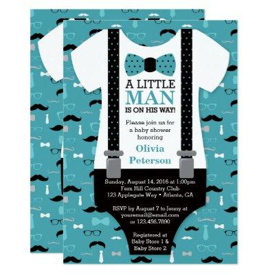 Little Man , Teal, Black Invitations