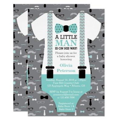 Little Man Baby Shower Invitations, Teal, Black Invitations