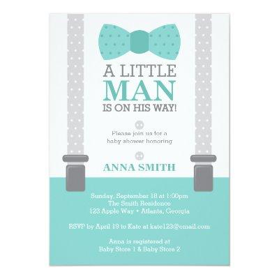 Little Man , Teal Blue, Gray Invitations