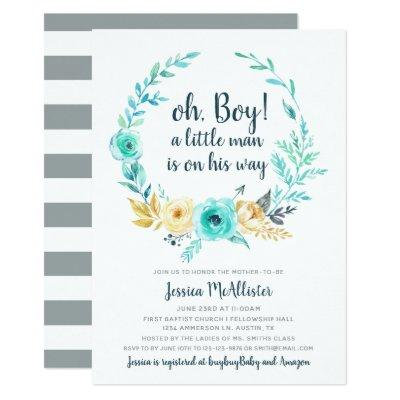 Little Man Baby Shower Invitation Teal Gray Card