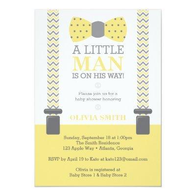 Little Man , Yellow, Gray Invitations