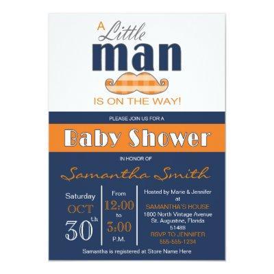 Little Man Baby Shower Navy Blue and Orange Invitations