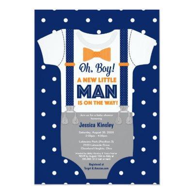 Little Man Baby Shower, Navy Blue and Orange Invitation