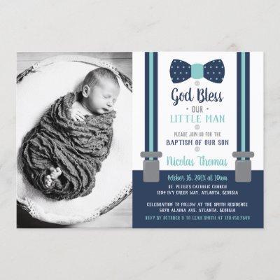Little Man Baptism Invitation, Blue, Aqua Invitation
