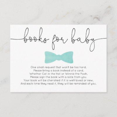Little man boy baby shower aqua books for baby enclosure card