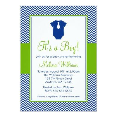 Little Man Chevron Blue Green Baby Shower Invitation