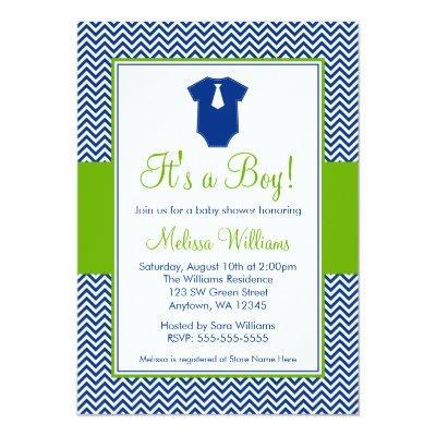 Little Man Chevron Blue Green Baby Shower Invitation