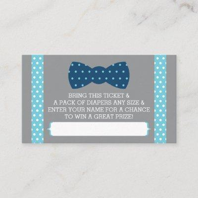 Little Man Diaper Raffle Ticket, Baby Blue, Navy Enclosure Invitations