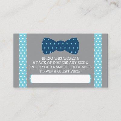 Little Man Diaper Raffle Ticket, Baby Blue, Navy Enclosure Card