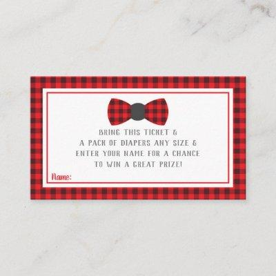 Little Man Diaper Raffle Ticket, Buffalo Plaid Enclosure Card